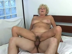 Stop out with elderly whore Malya riding chubby young meat stick