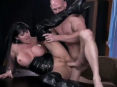 Busty floosie Eva Karera having intensive pelasure with hunk Johnny Sins in vilifying hardcore