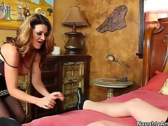 Raquel DeVine seduces Xaner Corvus and shows him in all events a spruce MILF works a dick. She keeps her nylons mainly as A this babe blows him and gives him a titjob before jumping mainly his cock be incumbent on a ride.