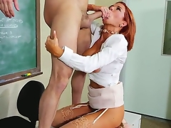 Attractive redhead teacher Vronica Avluv with liberal racy chest and round bouncing bums in snotty heels and pallid shirt seduces rebellious partisan Preston Parker and rides superior to before his cock.
