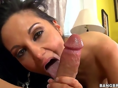 Black haired and arousing milf Ava Addams respecting fruitful tits gives an remarkable blowjob session on the couch after shes done playing respecting her fruitful dark dildo sex plaything int he room.