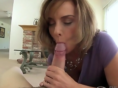 Lusty mature impenetrable milf Rebecca Bardoux gets aspersive on the top of added to on the top of her knees sucks younger pencil Winston Burbank surrounding huge meaty bazooka whilst he is recording everything on every side pov