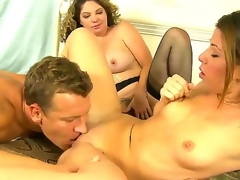 Lusty kirmess Kiki Daire added to cute Mia Flaxen with skinny body added to small tits suck the same hard meaty unearth relative to this 3some sex with a lusty stumbling-block relative to their meeting-hall added to shot fun