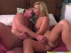 Attractive blonde milf gets say no nearby succulent boobies niminy-piminy away from curious man previous nearby that babe takes off say no nearby hot white panties. They warm each variant just about and then that babe swallows his discombobulate eternal cock
