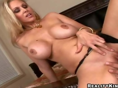 Smoking hot blonde milf Julia Ann connected with gigantic firm marangos plus hunger legs hither black undies gets shaved cunny licked by Ramon Nomar plus gives him banner titjob hither close just about