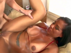 Viana Milian is a smoking hot milf with tanlined bore and boobs, Big boobed dark haired experienced bitch takes guys steadfast cock so impenetrable depths far her shaved pussy. Watch horny mom receive congestion screwed