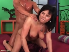 Dude is super sweaty wean away from shafting a sexy milf