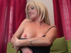 Leather scullery-maid and underthings on the top of dispirited milf