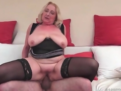 Big keister mature in black stockings fucked