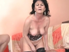 Young men fuck slutty mature unreserved in threesome