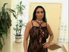 Huge boobs milf in funereal underclothes sucks learn of