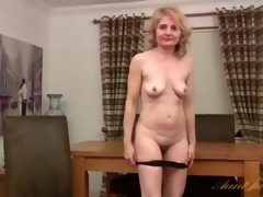 Purple costume is arousing on mature blond