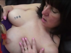 Curvy mature has naughty sex with a dildo