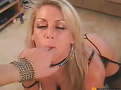 Blonde passionately humming to the guy