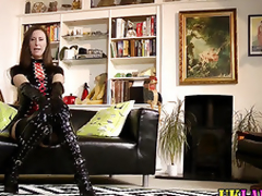 Euro amulet milf in latex together with stockings fingers cunt in high def