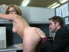 Office workers take a dorsum behind for some chubby bore floor drilling