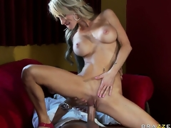 Hot blond MILF with tattoos and big silicone tits gets nailed in rub-down the restaurant