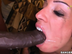 Monica Santhiago opens the brush oiled up plunder added to takes huge black cock fro the brush twat
