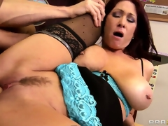 Teacher with massive knockers rides on a load of shit with her wet cunt