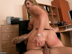 The bosomy blonde receives fucked all over the office and receives his cum almost her frowardness