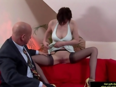 Got up British MILF giving a blowjob to rub-down the aged toff