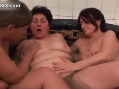 Naff horny old sluts lend crazy licking a handful of another