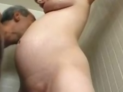 Preggo milf Becky Cumisha gets fondled with the additional of fucked from behind