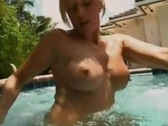 A- Golden-haired MILF Blowjobs In Chum around with annoy Pool