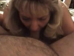 Mature golden-haired wife blows big hubby