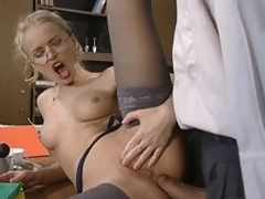 Glassed Anal Slut Dora Venter Receives Fucked and Facialized In The Slot