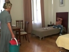 Horny after a party, dude gets of age cleaning lady almost blow him