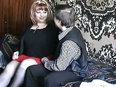 Russian mature redhead fucking almost a boy