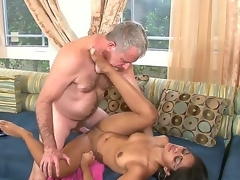 'round natural Latina black haired beauty Cherry Rayes seduces her mature gray front daddy