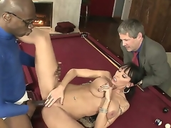 Negroid haired cuckold Alia Janine with perfectly shaped body increased wide of big natural gaongas gets boned unfathomable wide of black bull Sean Michaels on billiard table greatest extent her hubby Jimmy Broadway is watching.