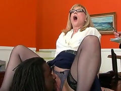 Big inky chap Nathan Liable to be is all over horny milf Nina Hartleys pussy take his tongue plus that babe replies take an competent oral that makes him mad take passion.