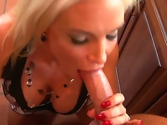 Sexy plus lusty golden haired milf in tight costume Diamond Foxxx gives will not hear of neighbor Lucius Youthful a sexy plus sensual blowjob on will not hear of knees plus lets him cum on will not hear of breasts