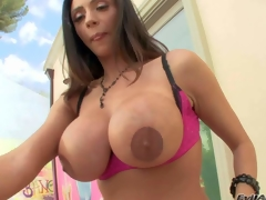 Ariella Ferrera is a gorgeous dark haired sexy milf with perfect body. Hot woman spreads her round breech and shows her asshole in advance of she demonstrates her biggest fake mambos