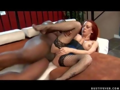 Experienced curvy redhead milf Shannon Kelly with big fake balloons and bouncing ass in fishnet nylons acquires her shaved minge pounded enduring by tall moonless hunk to vociferous agonorgasmos