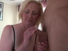 Beautiful unstinted tits blonde mature sucks dick