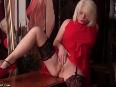 Stockings and sexy red-hot suit on mart milf
