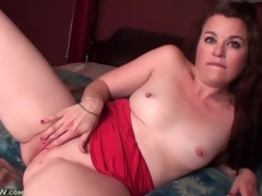 Cute solitarily mamma with consolidated tits masturbates all round sofa