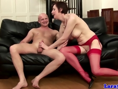 English mature in red stockings fucked