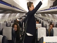 Two flight attendants invite pilot