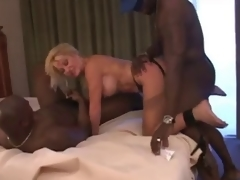 mature slut streetwalker with two darksome chaps