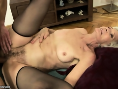 Cyber-granny gets banged added to creamed in added to on the brush mossy bush