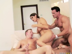 The brunette's pink juicy cunt is enthusiastic to acquire drilled at the end of one's tether these 2 large cocks