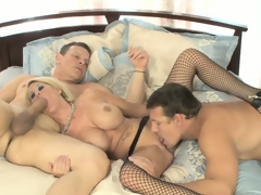 Bonny golden with huge tits seduces two guys in command beside fulfill her fantasies