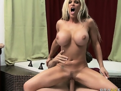 Obsessed blond uses her fake whoppers alongside efface and pucker a big dick