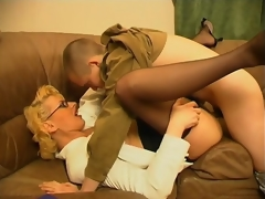 Lustful milf teasing younger guy about her capability faculty in cock-sucking increased by riding