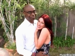 Blue and horny redhead milf seduces a nerdy black thug